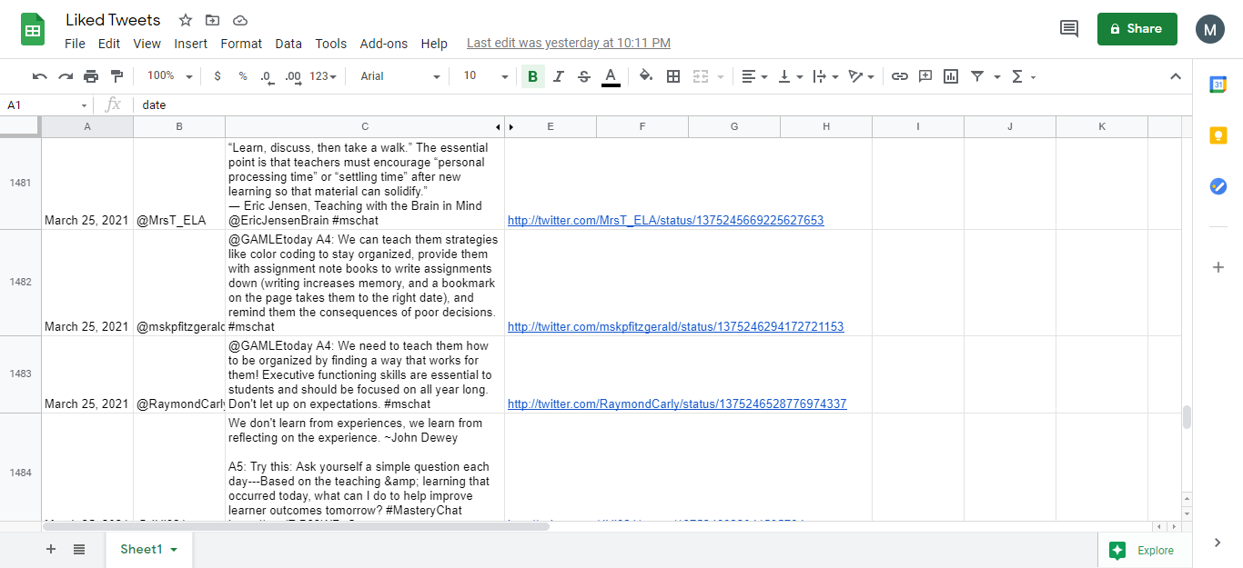 IFTTT applet that saves liked tweets to Google Sheets
