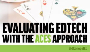 """An image of four playing card aces with the title, """"Evaluating edtech with the ACES approach""""."""